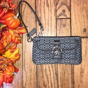 COACH Wristlet Gray Patterned Front Pocket